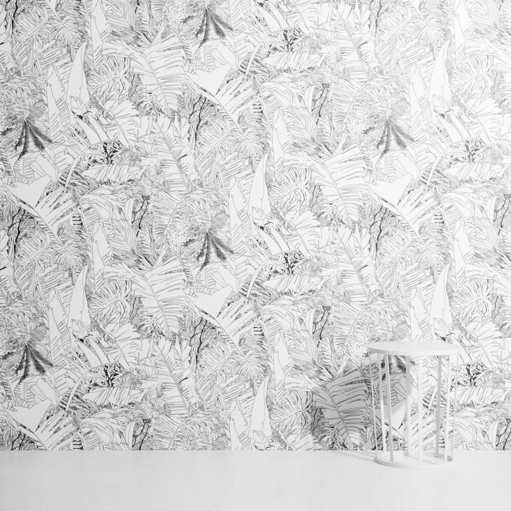 Tropical leaf wallpaper black on white - Petite Friture