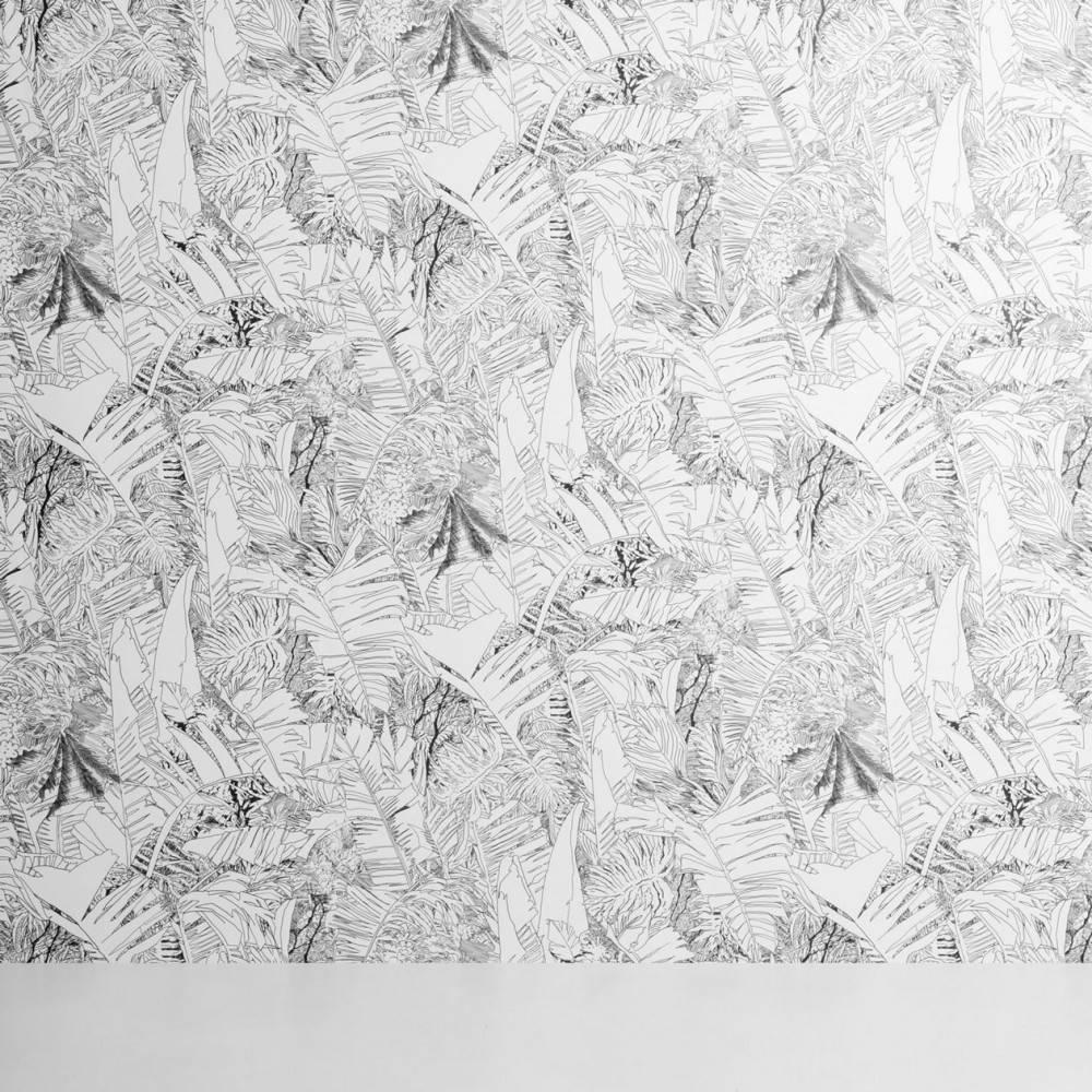 Jungle wallpaper black on white - Tiphaine de Bodman for Petite Friture